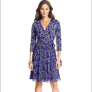 Diane von Furstenberg Irina blue star wrap dress